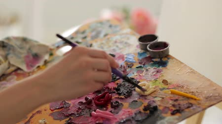 oilpaint : The artist mixes oil paints on a palette with a brush, close-up. Stock Footage