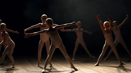 тапочка : A group of flexible girls ballet dancers dancing on stage on a black background, slow motion.