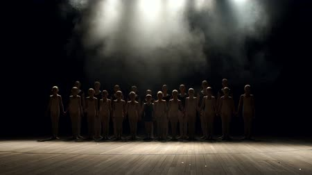 papucs : A large group of children of the dancers synchronously go on stage in the dark on a black background. Group of children engaged in ballet on stage, portrait. Slow motion. Silhouette.
