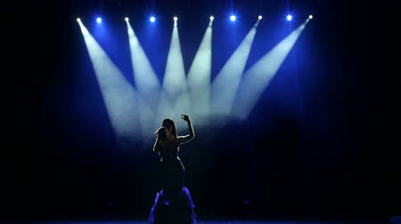 divas : Silhouette of a beautiful girl on stage with concert lighting in a beautiful evening dress. The beautiful singer sings on stage in the dark.