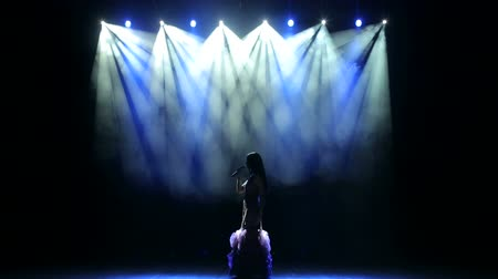divas : Silhouette of singer standing on stage at microphone in night club. The singer in a long dress singing on stage in the dark with bright concert lighting.