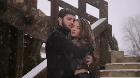 vampiro : The bride in a black dress with a long train and the groom in a black suit are standing on the stairs of an ancient castle in the winter with a heavy snowfall. Stock Footage