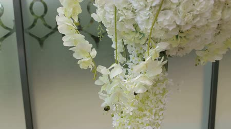 orchidea : Close-up of white orchids in wedding decoration. Wedding arch with white flowers, orchids, peonies, roses.
