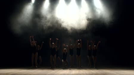 terlik : Young teen girls perform ballet on stage in smoke on black background. A choreographed dance of a group of graceful pretty young ballerinas practicing on stage in a classical ballet school.