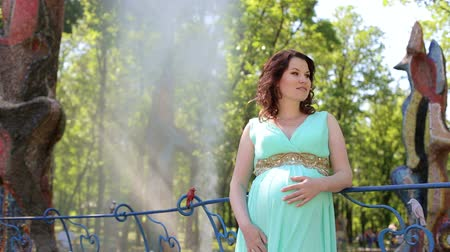 contemplative : A young beautiful pregnant girl in a beautiful long dress stands in a city Park on a fountain background and strokes her big belly.