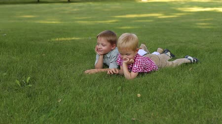 into the camera : Two cute little boys in shirts lying on the green grass and smiling, portrait. Summer vacation. Young children relax lying on the grass in Sunny weather.
