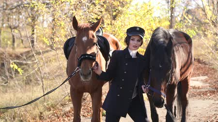 kısrak : Luxurious young girl walks with two horses in the forest in warm autumn weather. Model posing with beautiful thoroughbred horses.