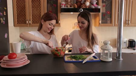 cuidadoso : Two young beautiful girls prepare a vegetable salad in the kitchen, have fun talking and laughing. Two sisters prepare a salad of tomatoes and cucumbers in the kitchen in the morning.