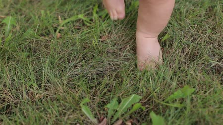nogi : Close-up of a mother with a newborn baby sitting on the green grass in a summer Park. Close-up of the legs of a newborn baby on the green grass.