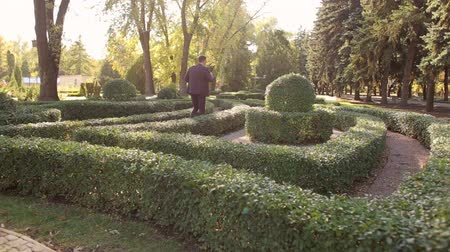 işadamları : A successful businessman walks in the Park among the beautiful small bushes, he puts on sunglasses.