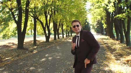 mellow : A successful happy businessman in a suit and sunglasses dancing in the autumn Park enjoying success in business or victory. Winning dance businessman in the autumn Park at sunset. Stock Footage