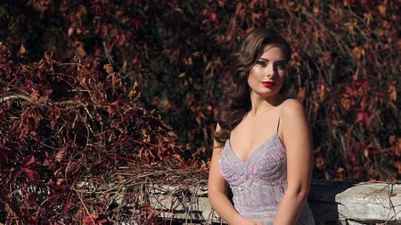 hajló : A beautiful girl in a long silver evening dress walks in an old abandoned park in the autumn, she stands on a ruined stone staircase that winds wild grapes with red leaves.