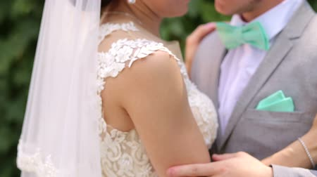 amado : Gentle lovers newlyweds in the Park near a large tree. The groom gently strokes his beloved brides hand, close-up. Portrait of happy newlyweds in a Sunny summer Park. Stock Footage