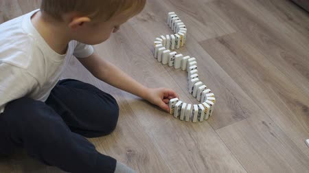 dominostenen : Close-up of a little boy playing with dominoes on the floor of the house, he puts them next to them to alternately fall. The reaction of falling dominoes.