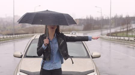 raincoat : A young upset girl with an umbrella catches a car standing on the road in the rain with snow, her car ran out of gas and she asks for help. Stock Footage