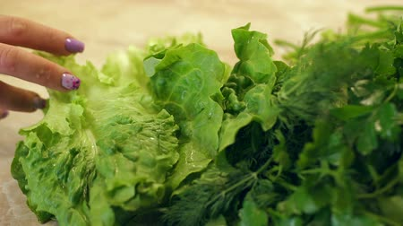 укроп : Close-up girl puts on the table wet lettuce. Vegetarianism. Beautiful wet lettuce with water drops. Slow motion. Green vegetables.