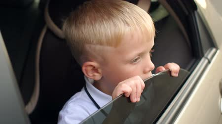 леденец : Little curious boy sitting in the back seat of the car with a Lollipop, he looks out of the car window. Close-up, slow motion. The child travels in the car in a car seat. Стоковые видеозаписи