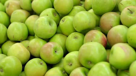 упакованный : Counter with fruit in supermarket. Fruits in supermarket. Green apple fruits in a supermarket. Bunch of green apples on boxes in supermarket. Стоковые видеозаписи