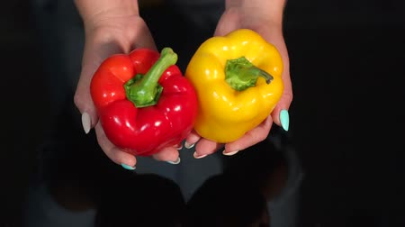 paprika : Two juicy ripe bell peppers in the hands of a young woman isolated on a black background. Slow motion. Female hands holding ripe juicy red and yellow paprika pepper on black background.