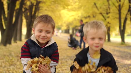 folhas : Happy children throw leaves in autumn park. Kids play in autumn park. Close-up of two little boys having fun in autumn Park with yellow leaves. Slow motion.