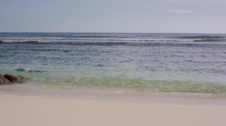 surfer paradise : The ocean washes large stones on the shore of Seychelles Stock Footage