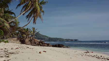 takamaka : Paradise Beach in Seychelles Stock Footage