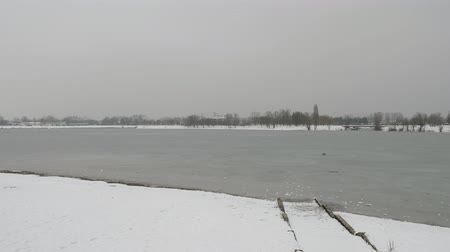 ZAGREB, CROATIA - March, 2018: Frozen Lake In A Park