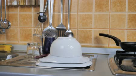 Pile of dishes in the kitchen Stock Footage