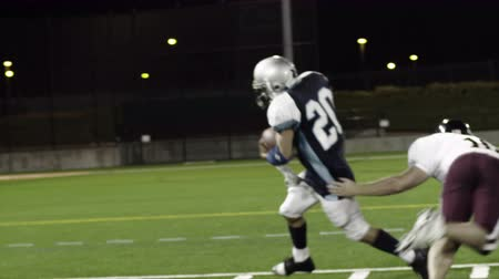fotbal : A football player runs with ball avoids tackles and then scores a touchdown