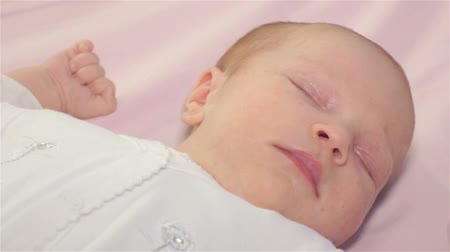 newborn child : one month baby sleeps Stock Footage