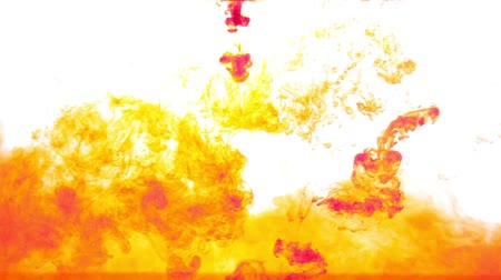 abstract yellow and red ink in water on white background Stock Footage