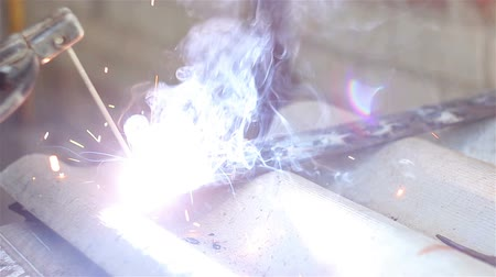 Close-up welding. Electric welder Stock Footage