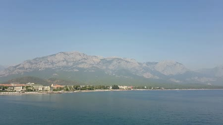 турецкий : Coast of Antalya. View from the sea Стоковые видеозаписи
