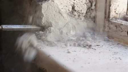 destroyer : Dismantling the old window. Working with a perforator. Stock Footage