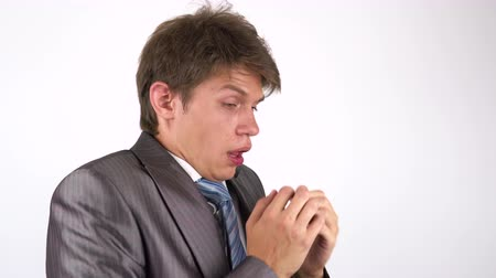 coughing : Coughing young man Stock Footage