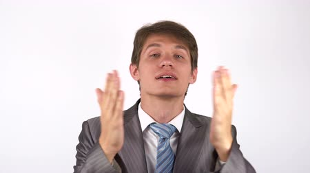 amado : young man looking at the camera. Kiss gesture Stock Footage