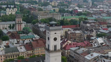 historical : Panorama of the ancient town. Town Hall, Ratush. Drone shot Stock Footage