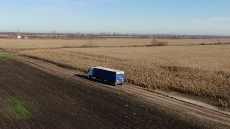 druk verkeer : Semi Truck with Cargo Trailer Attached Moving Through corn field background. Large Delivery Truck is Moving on dirt road. Aerial Shot Of Truck On Road In Beautiful Countryside. Semi-truck on Dirt Road