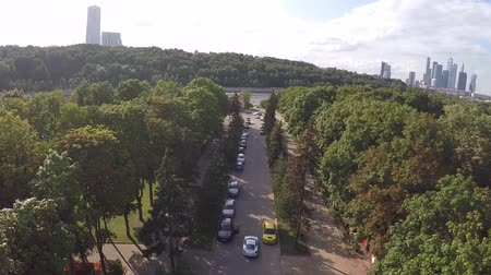 drone : aerial summer autumn River Road with car by drone