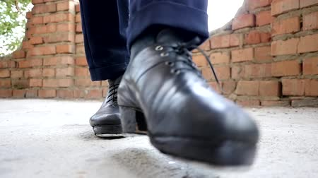footgear : Close up of the feet in irish dancing step shoes slow motion Stock Footage