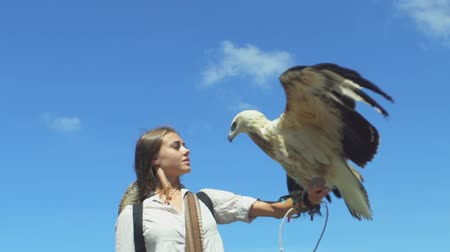 west wing : Exploring young woman discover the world, traveler girl holding eagles