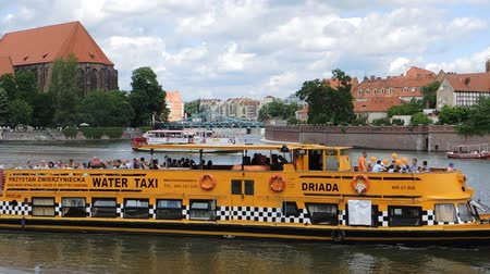 wrocław : Ship traffic on the Oder river in Wroclaw - Poland.