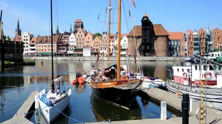 vistula : Old port of Gdansk with Crane as Landmark - Poland. Stock Footage
