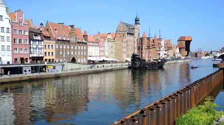 vistula : Historic Old Town on the Vistula river in Gdansk - Poland. Stock Footage