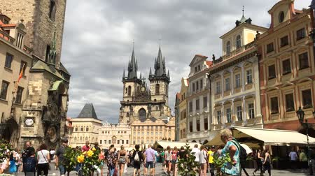 namesti : Tourists at the Old Town Square of Prague - Czech Republic.