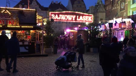 wrocław : Fairyland in the Christmas market before the Town Hall in the Old Town of Wroclaw - Poland. Wideo