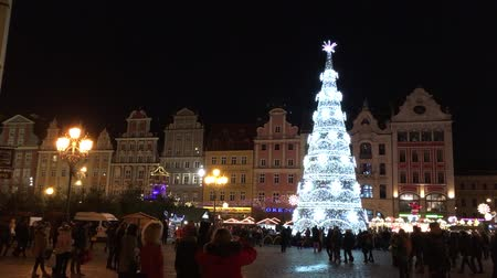 wrocław : Visitors at the Christmas market in the Old Town of Wroclaw - Poland.