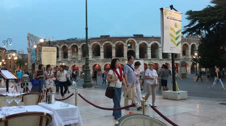 tiyatro : Roman amphitheater Arena di Verona at the Piazza Bra square in the historic center of Verona - Italy. Stok Video