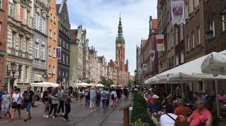 Old town of Gdansk with pedestrians at the Long Market with view of the Town Hall - Poland.