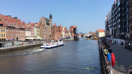 Cityscape of Gdansk with ship on the river Motlawa - Poland.